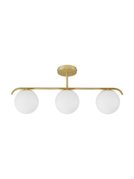 Lampada da soffitto in vetro opale Grant, Paralume: vetro, Struttura: metallo rivestito, Baldacchino: metallo rivestito, Bianco, oro, Larg. 70 x Alt. 30 cm