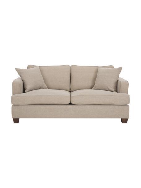 Duża sofa Warren (2-osobowa), Tapicerka: 60%bawełna, 40%len, Nogi: czarne drewno, Beżowy, S 178 x W 85 cm