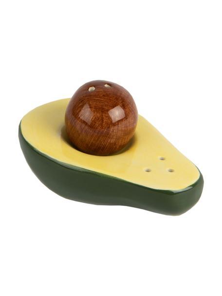 Set saliera e pepiera Avocado 2 pz, Porcellana, Verde, giallo, marrone, Larg. 9 x Alt. 5 cm
