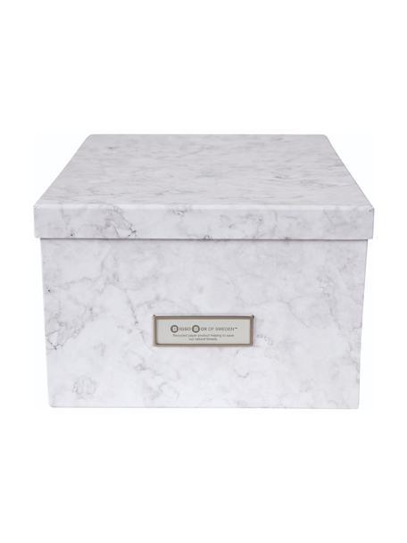 Opbergdoos Gustav, Doos: stevig, gelamineerd karto, Wit, gemarmerd, 30 x 15 cm