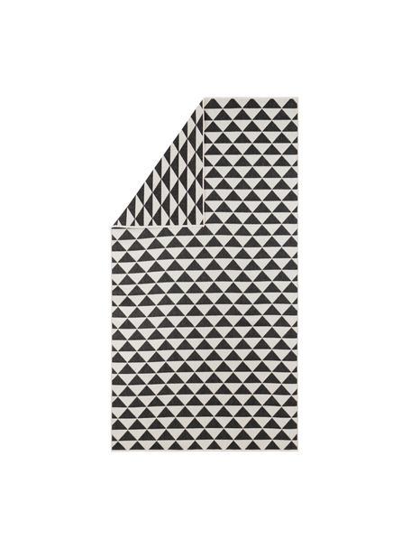In- & outdoor vloerkleed met patroon Tahiti in zwart/crèmekleur, 100% polypropyleen, Zwart, crèmekleurig, B 80 x L 150 cm (maat XS)