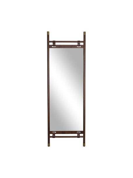 Specchio d'appoggio con cinturini in pelle Riva, Struttura: legno di faggio, Superficie dello specchio: lastra di vetro Fascia in, Cornice: marrone scuro Superficie dello specchio: lastra di vetro, Larg. 60 x Alt. 180 cm