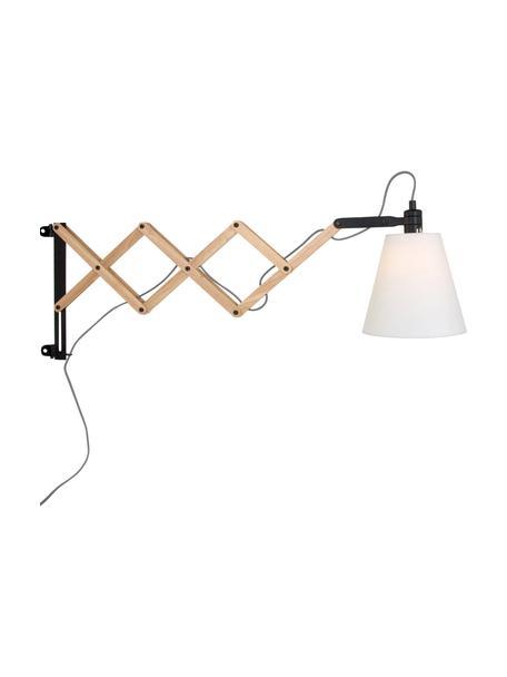 Verstelbare wandlamp Dion met stekker, Lampenkap: katoen, Frame: gelakt metaal, Lichtbruin, zwart, wit, B 10 x D 80 cm