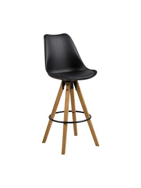 Barstühle Dima, 2 Stück, Sitzschale: Polyurethan, Bezug: Polyester, Beine: Gummibaumholz, geölt, Sitzschale: Schwarz<br>Beine: Gummibaumholz<br>Fußstütze: Schwarz, 49 x 112 cm