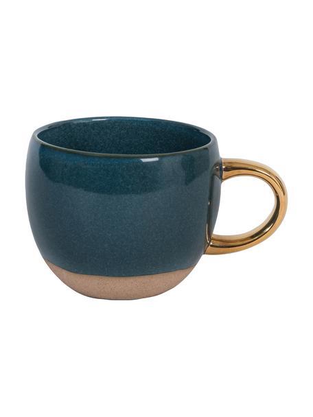 Tasse Legion in Dunkelblau mit goldenem Griff, Steingut, Blau, Goldfarben, Ø 11 x H 9 cm