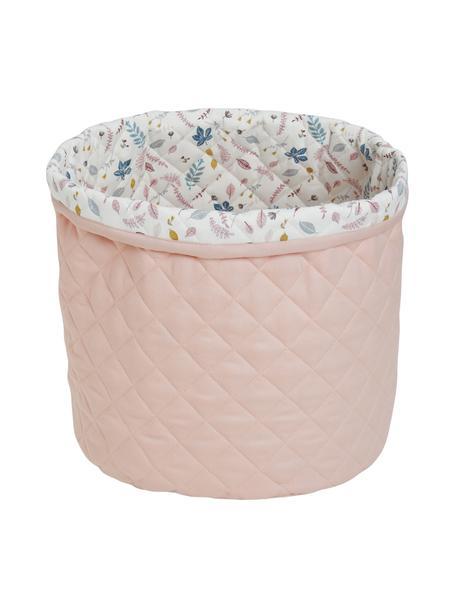 Opbergmand Pressed Leaves, Bekleding: 100 % organisch katoen, O, Buitenzijde: roze. Binnenzijde: crèmekleurig, roze, blauw, grijs, Ø 30 x H 33 cm