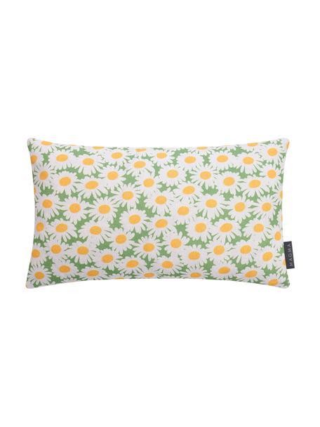 Federa arredo con motivo floreale Margerite, Bianco, verde, giallo, Larg. 30 x Lung. 50 cm