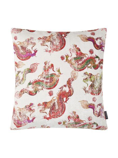 Kissenhülle Dragon mit Drachenmotiv, 57% Viskose, 43% Polyester, Weiss, Mehrfarbig, 45 x 45 cm