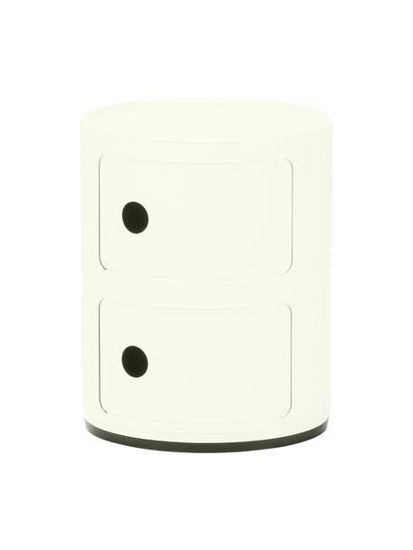 Design bijzettafel Componibile, 2 vakken, Kunststof, Wit, Ø 32 x H 40 cm