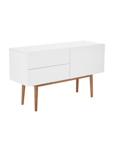 Dressoir High on Wood in wit hoogglans, Frame: PU gelakt MDF, Poten: massief eikenhout, Wit, naturel, 120 x 72 cm