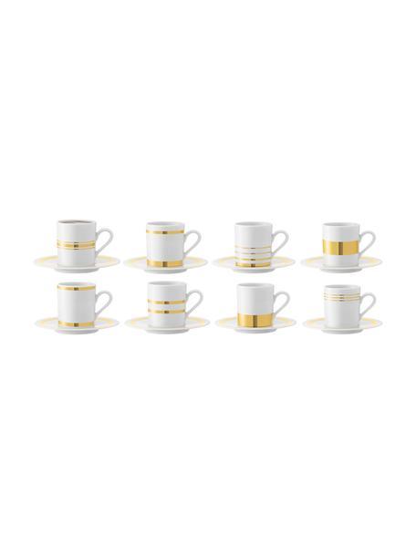 Tazas con platitos Deco, 8uds., Porcelana, Blanco, dorado, Ø 7 x Al 7 cm