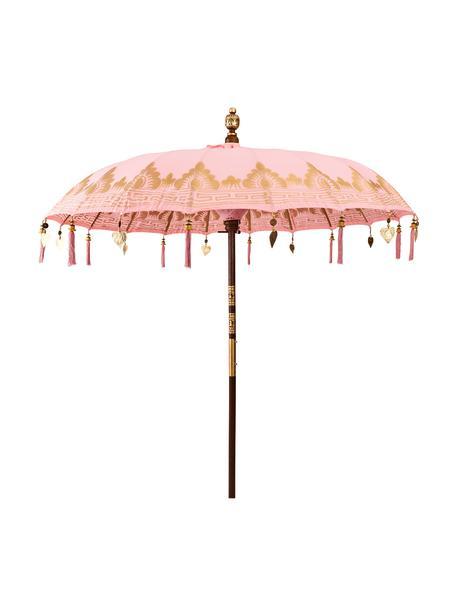 Sonnenschirm Oriental Lounge, Gestell: Fruchtholz mit Metallappl, Rosa, Goldfarben, Dunkelbraun, Ø 180 x H 225 cm