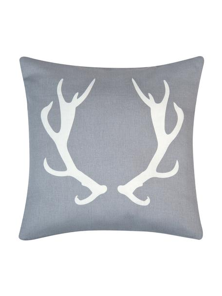 Kissenhülle Horns in Grau/Weiß mit Geweih, Baumwolle, Panamabindung, Grau,Ecru, 40 x 40 cm
