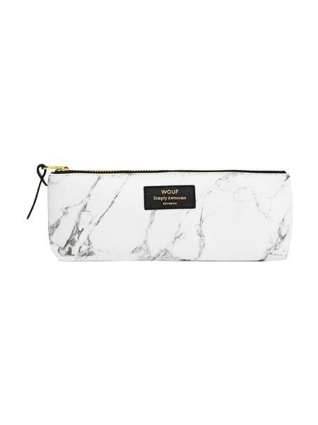 Stifte-Etui White Marble, Polyester, Leder, Weiß, marmoriert, 22 x 9 cm
