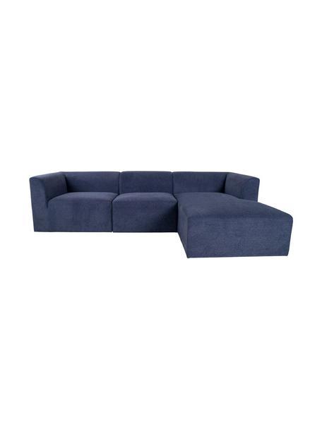 Sofá rinconero Alba, Tapizado: poliéster, polipropileno, Estructura: madera de pino, Azul, An 272 x F 160 cm