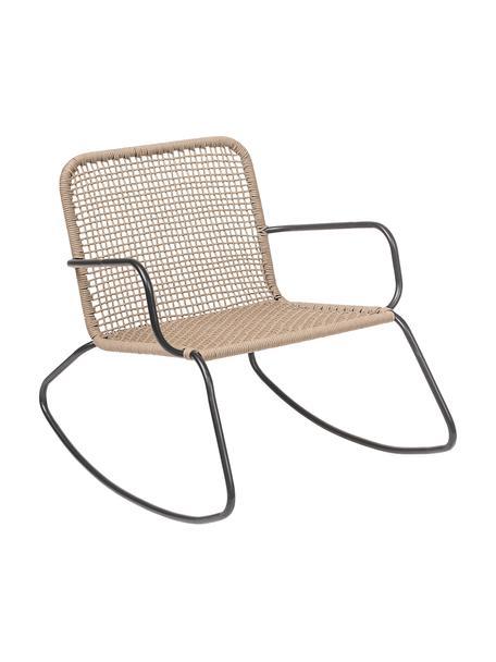 Sedia a dondolo con intreccio Mundo, Struttura: metallo verniciato a polv, Seduta: polietilene, Nero, beige, Larg. 73 x Prof. 89 cm