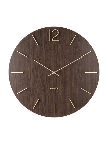 Reloj de pared XL Meek, Agujas: aluminio, recubierto, Marrón oscuro, dorado, Ø 50 cm