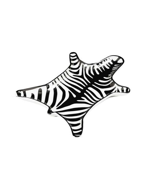 Designer-Deko-Schale Zebra aus Porzellan, Porzellan, Schwarz, Weiss, B 15 x T 11 cm