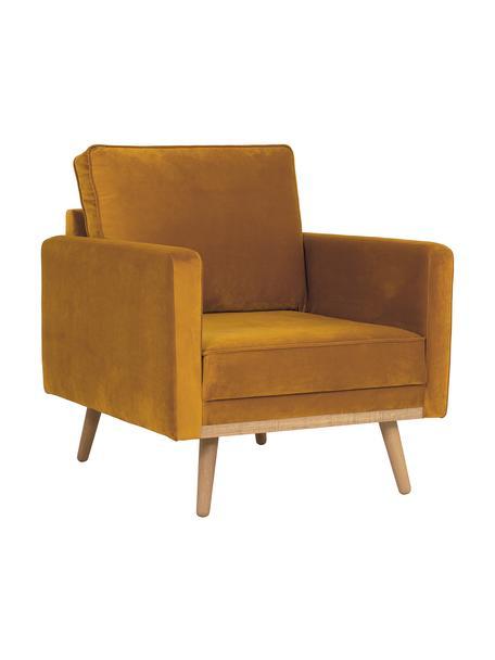 Fluwelen fauteuil Saint in mosterdgeel met eikenhouten poten, Bekleding: fluweel (polyester), Frame: massief eikenhout, spaanp, Fluweel mosterdgeel, B 85 x D 76 cm