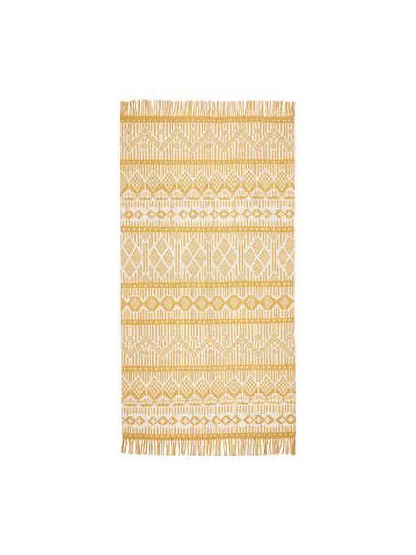 Ethno Teppich Panama aus recycelter Baumwolle, 100% Recycelte Baumwolle, Creme, Senfgelb, B 70 x L 140 cm (Grösse XS)