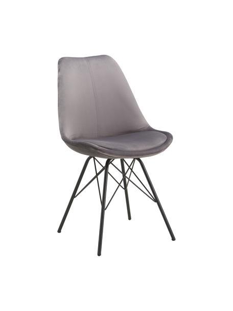 Krzesło tapicerowane z aksamitu Eris, 2 szt., Tapicerka: aksamit poliestrowy 2500, Nogi: metal malowany proszkowo, Ciemnyszary, czarny, S 49 x G 54 cm