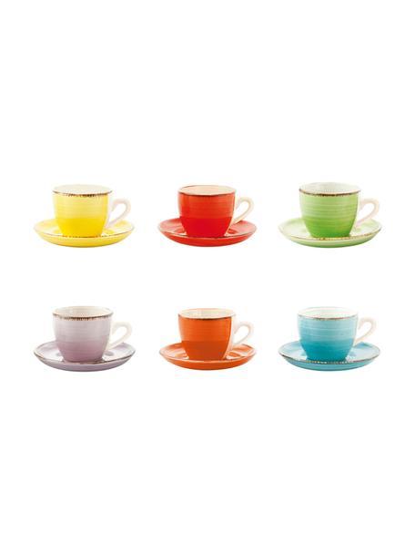 Set da caffè dipinto a mano Baita 12 pz, Terracotta (Hard Dolomite), dipinto a mano, Giallo, rosso, verde chiaro, lilla, arancione, azzurro, 90 ml