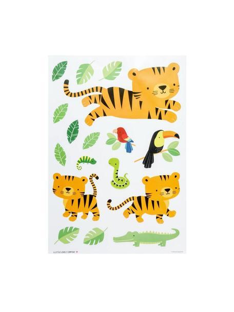 Wandstickersset Jungle Tiger, 17-delig , Kunststof, Multicolour, 35 x 50 cm