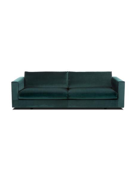 Sofa z aksamitu Balmira (3-osobowa), Tapicerka: aksamit (poliester) 100 0, Nogi: lite drewno brzozowe, lak, Aksamitny ciemny zielony, S 240 x G 96 cm