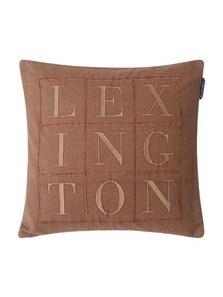 Kissenhülle Herringbone mit Stickerei, 100% Baumwolle, Brauntöne, 50 x 50 cm