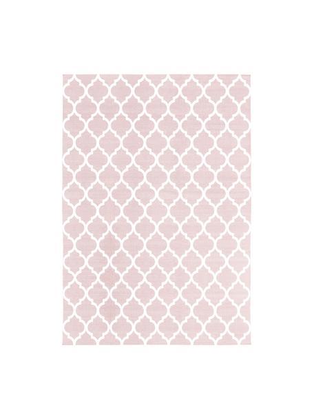 Tappeto in cotone tessuto a mano Amira, 100% cotone, Rosa, bianco crema, Larg. 160 x Lung. 230 cm (taglia M)