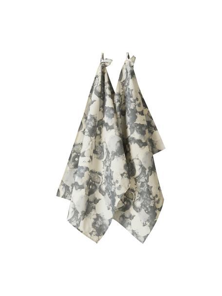 Paños de cocina Baldwin, 2uds., 100%algodón de cultivos sostenible de algodón, Crema, gris, An 50 x L 70 cm