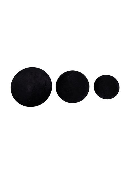 Set de ganchos de terciopelo Giza, 3pzas., Fijación: metal recubierto, Negro, latón, Set de diferentes tamaños