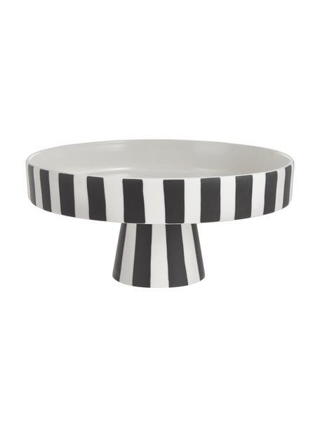 Keramik Servierplatte Toppu im Streifendesign, Ø 20 cm, Keramik, Weiss, Schwarz, Ø 20 x H 9 cm