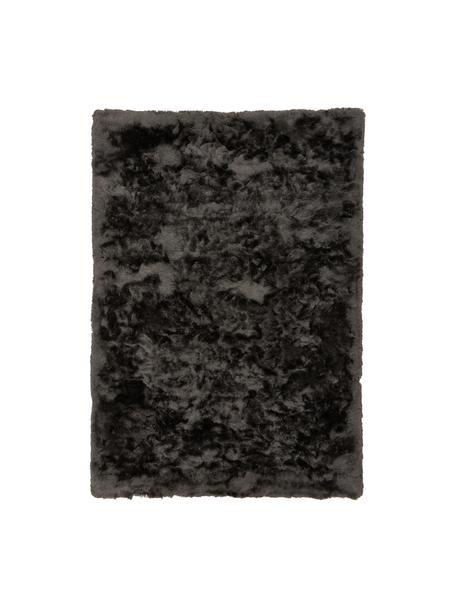Glanzend hoogpolig  vloerkleed Jimmy in donkergrijs, Bovenzijde: 100% polyester, Onderzijde: 100% katoen, Donkergrijs, B 120 x L 180 cm (maat S)