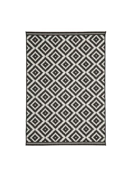 Gemusterter In- & Outdoor-Teppich Miami in Schwarz/Weiß, Flor: 100% Polypropylen, Cremeweiß, Schwarz, B 80 x L 150 cm (Größe XS)