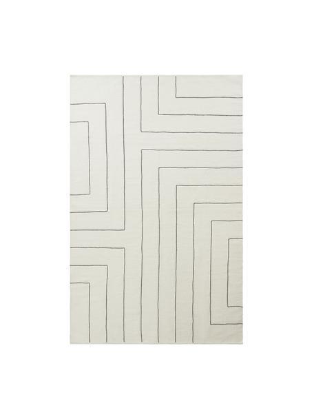 Handgewebter Wollteppich Neru mit abstraktem Muster, 100% Wolle, Naturweiß,  Schwarz, B 200 x L 300 cm (Größe L)