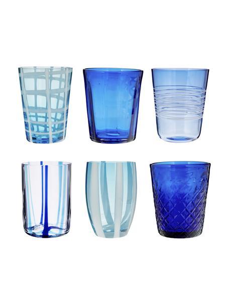 Mundgeblasene Wassergläser Melting Pot Sea in Blautönen, 6er-Set, Glas, Blautöne, Transparent, Set mit verschiedenen Grössen