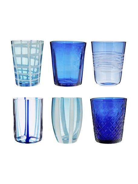 Vasos soplados artesanalmente Melting Pot Sea, 6uds., Vidrio, Azul, transparente, Set de diferentes tamaños