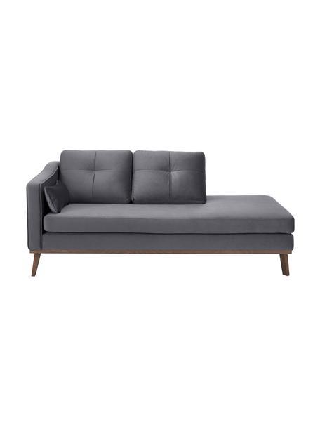 Fluwelen chaise longue Alva, Bekleding: fluweel (hoogwaardig poly, Frame: massief grenenhout, Poten: massief gebeitst beukenho, Fluweel donkergrijs, B 193 x D 94 cm