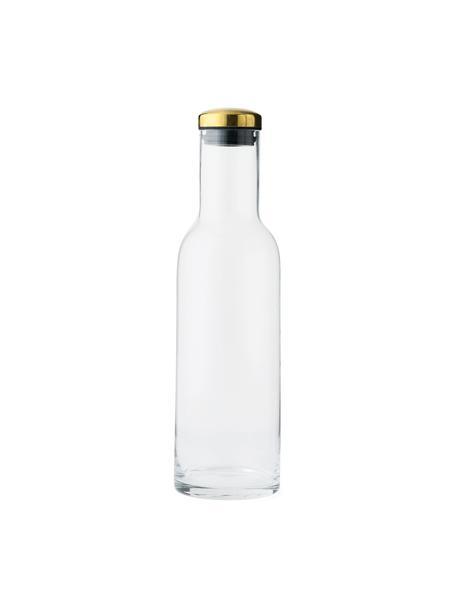 Karaffe Deluxe in Transparent mit goldenem Deckel, 1 L, Deckel: Metall, vermessingt, Transparent, 1 L