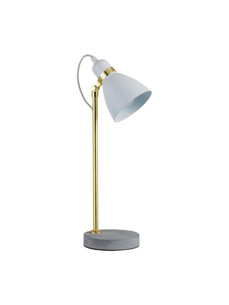 Grote tafellamp Orm in wit, Lampenkap: gecoat metaal, Lampvoet: beton, Wit, messingkleurig, grijs, Ø 15 x H 50 cm