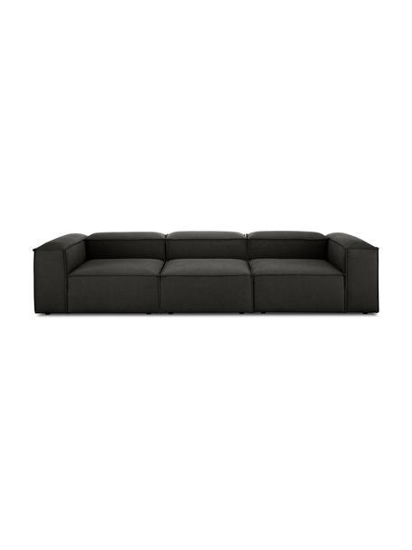 Sofa modułowa Lennon (4-osobowa), Tapicerka: poliester Dzięki tkaninie, Nogi: tworzywo sztuczne, Antracytowy, S 326 x G 119 cm