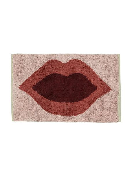 Alfombrilla de baño Kiss, 100%algodón Sin antideslizante, Rosa, rojo, rojo oscuro, An 60 x L 90 cm