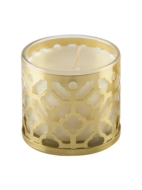 Duftkerze Helion (Vanille), Behälter: Glas, Metall, Goldfarben, Weiss, Ø 8 x H 8 cm