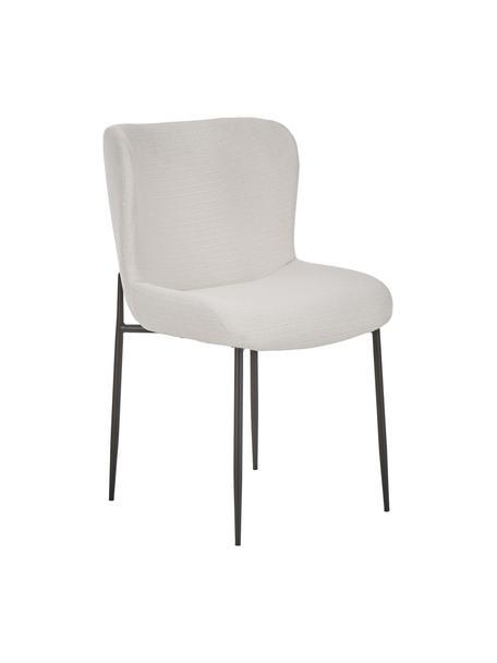 Gestoffeerde stoel Tess, Bekleding: polyester, Poten: gepoedercoat metaal, Geweven stof crèmewit, poten zwart, B 49 x D 64 cm
