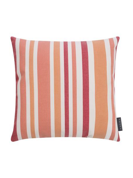 Federa arredo da interno-esterno a righe Marbella, 100% Dralon® poliacrilico, Arancione, bianco, tonalità rosa, Larg. 40 x Lung. 40 cm