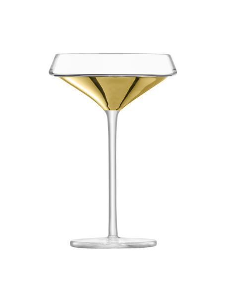 Mundgeblasene Champagnerschalen Space mit goldenem Detail, 2er-Set, Glas, Transparent, Goldfarben, Ø 12 x H 18 cm