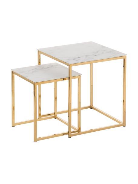 Bijzettafel Aruba met gemarmerde glazen tafelblad, Tafelblad: glas, Frame: gecoat metaal, Tafelblad bedrukt glas: mat wit, gemarmerd. Frame: goudkleurig, Set met verschillende formaten