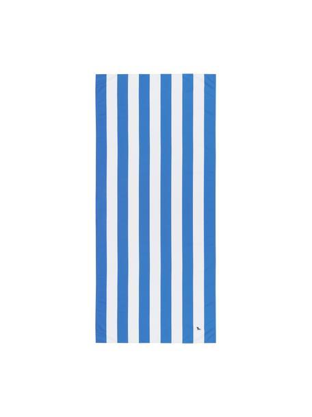 Toalla de playa de microfibras Cabana, Microfibra (80%poliéster, 20%poliamida), Azul, blanco, An 90 x L 200 cm