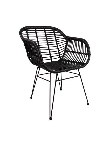 Sedia con braccioli Costa 2 pz, Seduta: intreccio polietilene, Struttura: metallo verniciato a polv, Nero, gambe nero, Larg. 59 x Prof. 58 cm